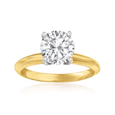 1.58 Carat Diamond Solitaire Ring in 14kt Yellow Gold