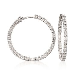 "Roberto Coin 2.84 ct. t.w. Diamond Inside-Outside Hoop Earrings in 18kt White Gold. 1 3/16"", , default"