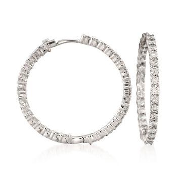 "Roberto Coin 2.84 ct. t.w. Diamond Inside-Outside Hoop Earrings in 18kt White Gold. 1 3/16"", , default"