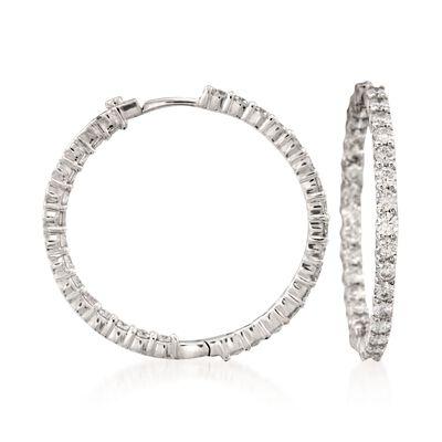 Roberto Coin 2.84 ct. t.w. Diamond Inside-Outside Hoop Earrings in 18kt White Gold, , default