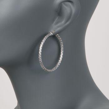 """Charles Garnier """"Milan"""" Sterling Silver Large Hoop Earrings. 1 7/8"""", , default"""