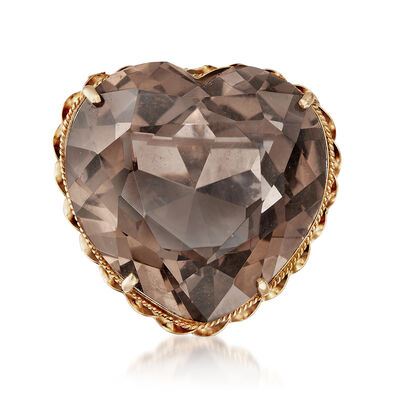 C. 1960 Vintage 71.50 Smoky Quartz Heart Pendant Pin in 14kt Yellow Gold, , default