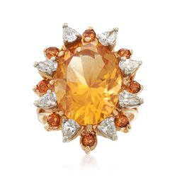 C. 1980 Vintage 21.90 ct. t.w. Citrine and 1.00 ct. t.w. Diamond Ring in 14kt Yellow Gold. Size 6, , default