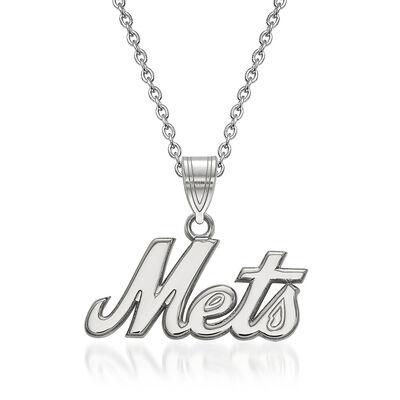 "Sterling Silver MLB New York Mets Pendant Necklace. 18"", , default"