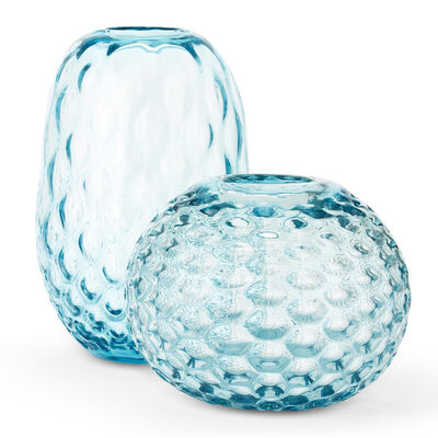 Set of 2 Honeycomb Blue Glass Vases