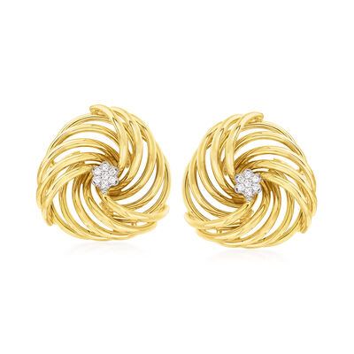 C. 1970 Vintage .15 ct. t.w. Diamond Swirl Earrings in 14kt Yellow Gold