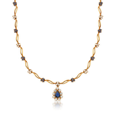 C. 1980 Vintage 2.45 ct. t.w. Sapphire and 1.65 ct. t.w. Diamond Floral Necklace in 18kt Yellow Gold, , default