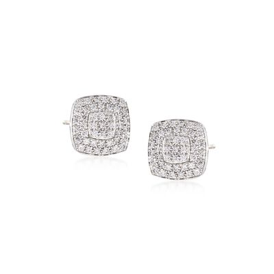 "ALOR ""Classique"" .75 ct. t.w. Diamond Square Stud Earrings in Stainless Steel and 18kt White Gold, , default"