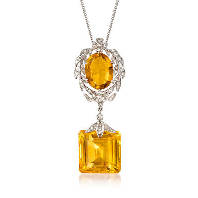 C. 2000 Vintage 27.00 ct. t.w. Citrine and .50 ct. t.w. Diamond Drop Pendant Necklace in 18kt White Gold