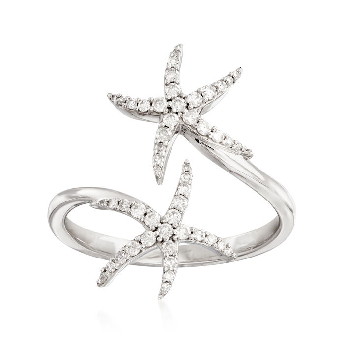 .25 ct. t.w. Diamond Starfish Bypass Ring in 14kt White Gold