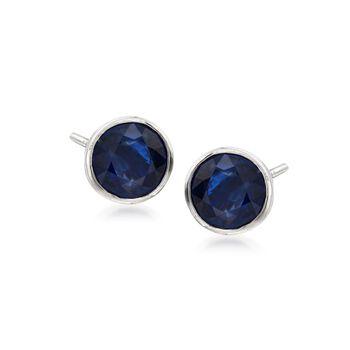1.00 ct. t.w. Bezel-Set Sapphire Stud Earrings in 14kt White Gold, , default