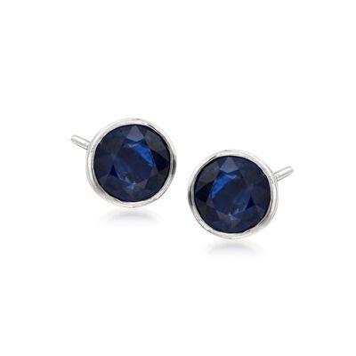 1.00 ct. t.w. Bezel-Set Sapphire Stud Earrings in 14kt White Gold, , default
