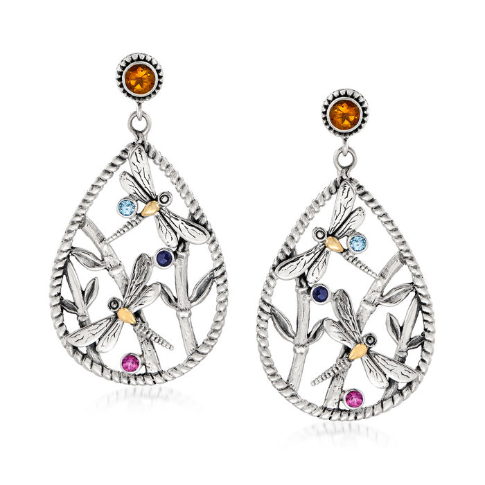 1.90 ct. t.w. Multi-Gemstone Dragonfly Drop Earrings in Sterling Silver with 18kt Gold Over Sterling