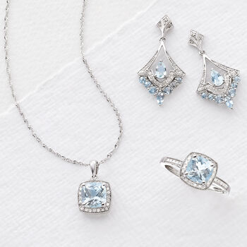 1.20 Carat Aquamarine and .10 ct. t.w. Diamond Pendant Necklace in 14kt White Gold. 18""
