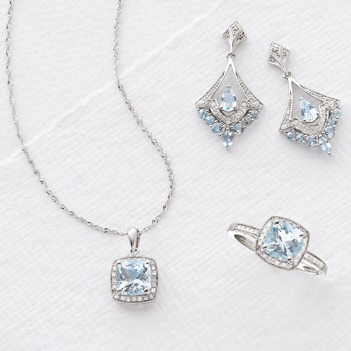 1.20 Carat Aquamarine and .10 ct. t.w. Diamond Pendant Necklace in 14kt White Gold