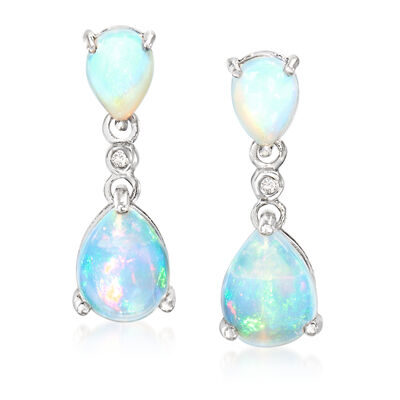 Opal Double Drop Earrings with Diamond Accents in Sterling Silver, , default