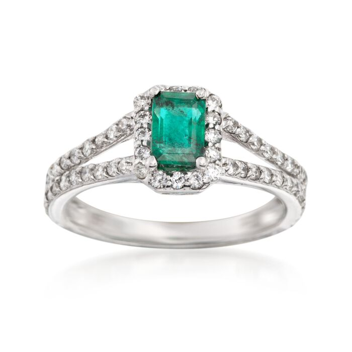 .60 Carat Emerald and .65 ct. t.w. Diamond Ring in 14kt White Gold, , default