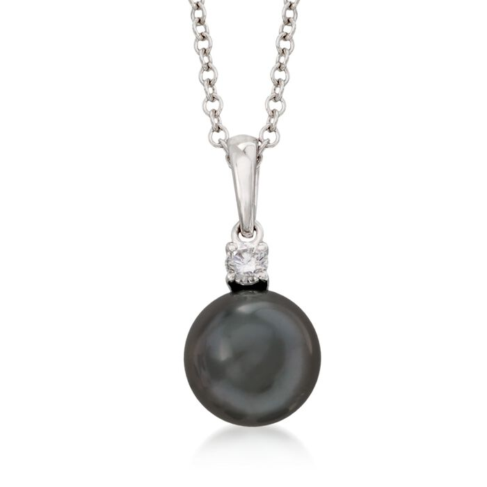 """Mikimoto 9-9.5mm Black South Sea Pearl and .10 Carat Diamond Pendant Necklace in 18kt White Gold. 18"""", , default"""