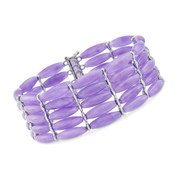 "Lavender Jadeite Jade Five-Row Bead Bracelet with Sterling Silver. 7.5"", , default"