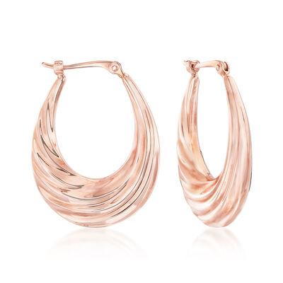 Swirl Oval Hoop Earrings in 14kt Rose Gold, , default