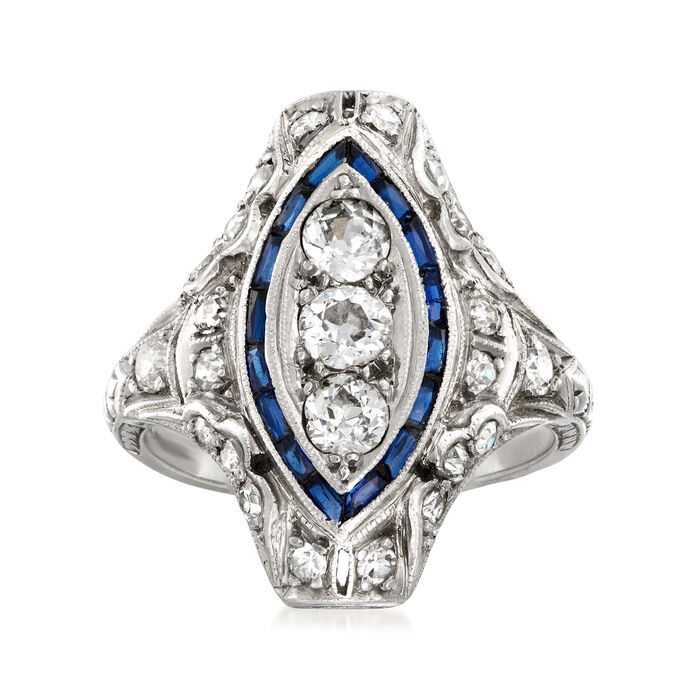 C. 1950 Vintage 1.00 ct. t.w. Diamond and .25 ct. t.w. Simulated Sapphire Ring in Platinum. Size 6.5, , default