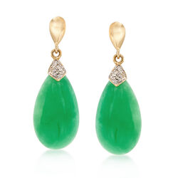 Green Jade Drop Earrings With Diamond Accents in 14kt Gold , , default
