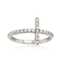 .35 ct. t.w. CZ Sideways Cross Ring in 14kt White Gold, , default