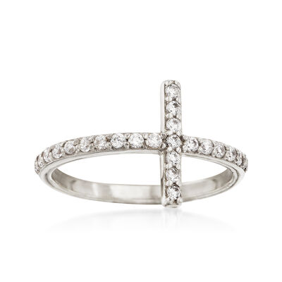 .35 ct. t.w. CZ Sideways Cross Ring in 14kt White Gold, , default