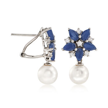 7-7.5mm Cultured Pearl and 4.80 ct. t.w. Multicolored Sapphire Floral Drop Earrings in 14kt White Gold., , default