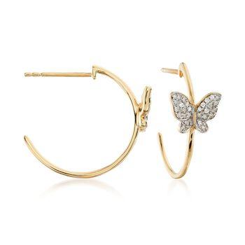 """.16 ct. t.w. Diamond Butterfly C-Hoop Earrings in 14kt Yellow Gold. 5/8"""", , default"""
