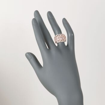 Rose Quartz Dome Ring with Diamonds in Rose Sterling Silver, , default