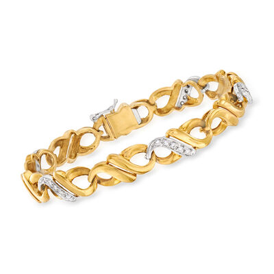 C. 1980 Vintage .40 ct. t.w. Diamond Infinity-Link Bracelet in 18kt Two-Tone Gold, , default