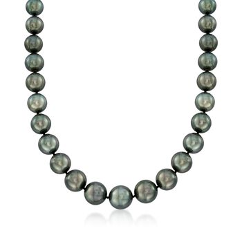 "12-15mm Black Cultured Tahitian Pearl Necklace With Diamond Accent and 14kt White Gold. 18"", , default"
