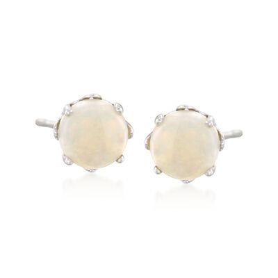 5mm Round Opal Stud Earrings with Teacup Settings in Sterling Silver, , default