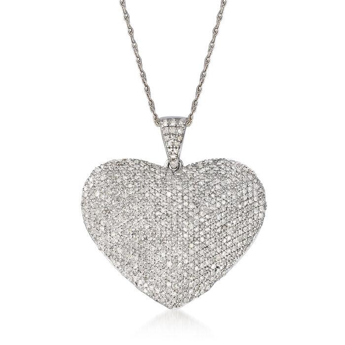 2.00 ct. t.w. Diamond Heart Pendant Necklace in Sterling Silver