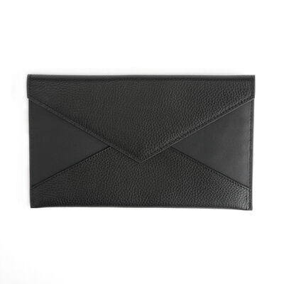 Royce Black Leather Envelope Clutch