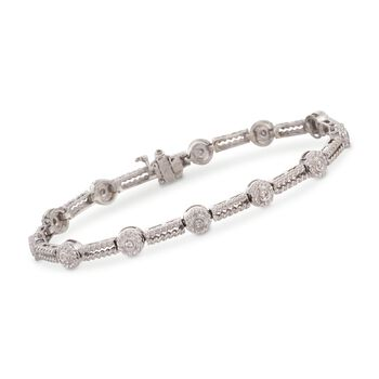 """.25 ct. t.w. Twisted Rope-Link Diamond Bracelet in 14kt White Gold. 7"""", , default"""
