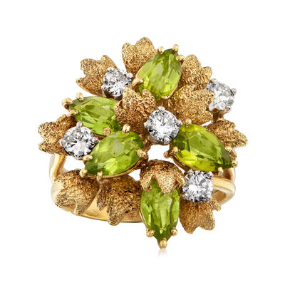 C. 1970 Vintage 2.25 ct. t.w. Peridot and .85 ct. t.w. Diamond Leaf Cluster Ring in 18kt Yellow Gold, , default