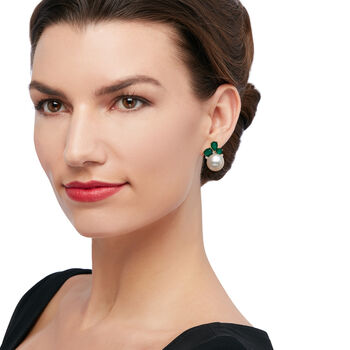 Cultured Pearl and .80 ct. t.w. Emerald Doublet Earrings with .17 ct. t.w. Diamonds in 14kt Yellow Gold