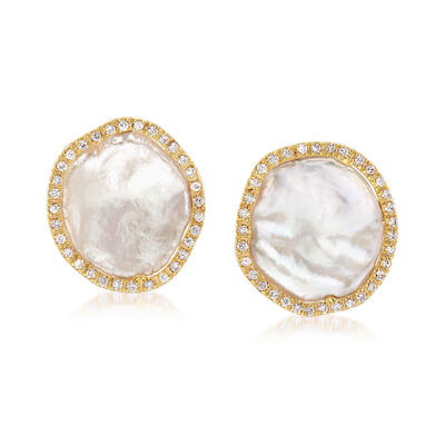 "Cultured ""Coin"" Pearl and .33 ct. t.w. Diamond Post Earrings in 14kt Yellow Gold, , default"
