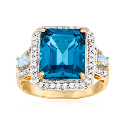 7.20 ct. t.w. Sky Blue Topaz and .32 ct. t.w. Diamond Ring in 14kt Yellow Gold