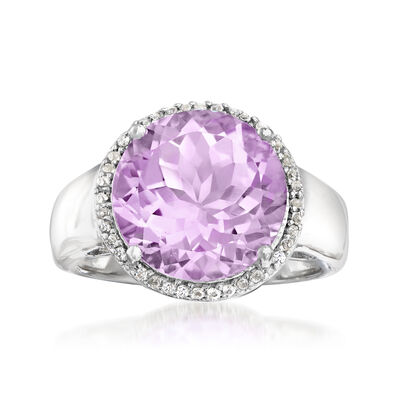 5.70 Carat Amethyst and .10 ct. t.w. White Topaz Ring in Sterling Silver, , default