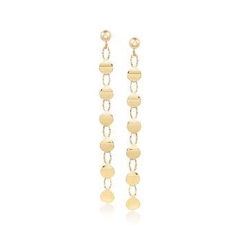 Italian 14kt Yellow Gold Linear Disc Drop Earrings, , default