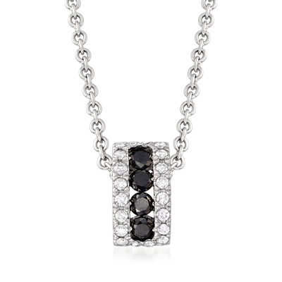 C. 1990 Vintage Giantti .25 ct. t.w. Black and White Diamond Drop Necklace in 18kt White Gold, , default