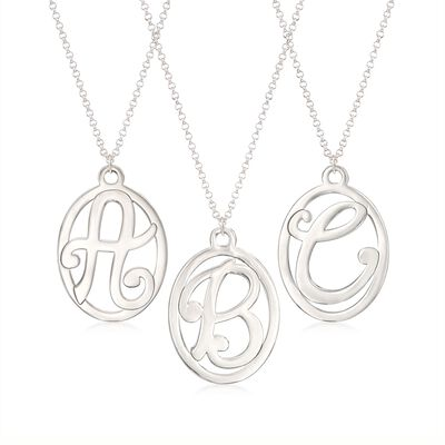 Sterling Silver Script Single Initial Oval Pendant Necklace, , default