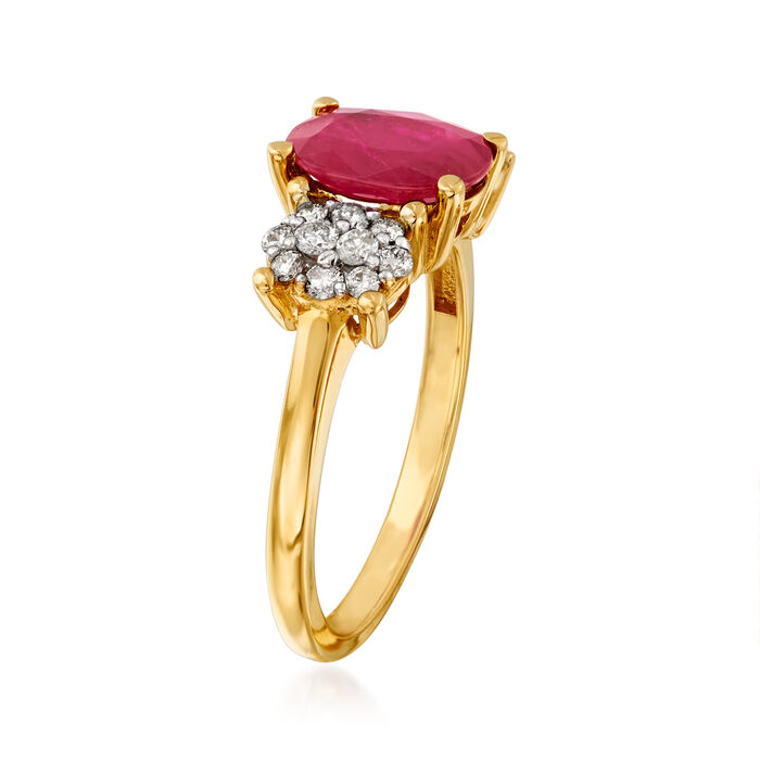 2.20 Carat Ruby and .35 ct. t.w. Diamond Cluster Ring in 14kt Yellow Gold