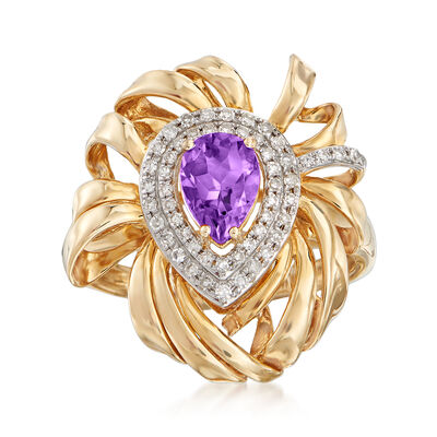 .70 Carat Amethyst and .19 ct. t.w. Diamond Ring in 14kt Yellow Gold, , default