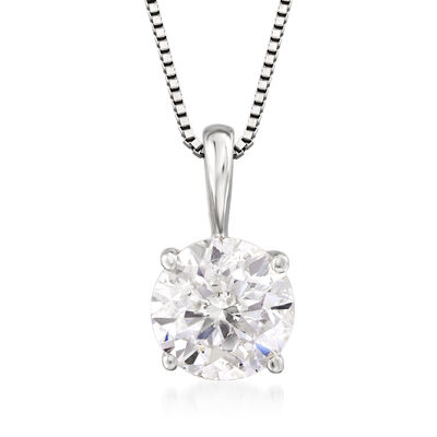 1.00 Carat Diamond Solitaire Pendant Necklace in 14kt White Gold, , default