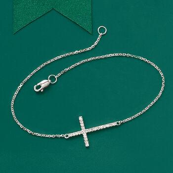 14kt White Gold Sideways Cross Bracelet with Diamonds, , default