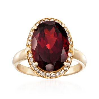 8.25 Carat Garnet and .21 ct. t.w. Diamond Ring in 14kt Yellow Gold, , default